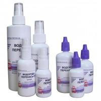 Стройные ряды бутылочек с перекисью водорода